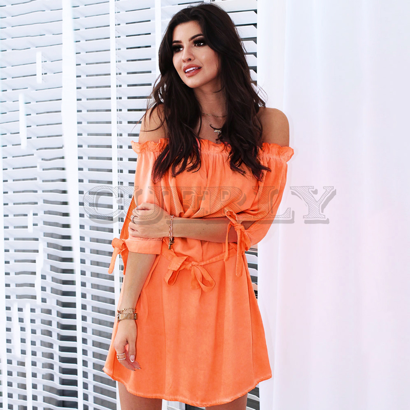 2019 Summer New Womens CUERLY neck Sexy Fashion Casual Mini Dresses Strap Beach Dress Ladies