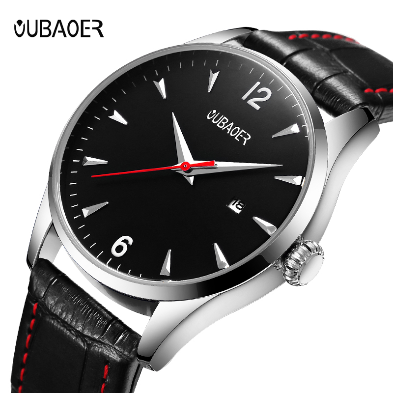OUBAOER Original Watch Men Sport Quartz Men Watches Auto Date Wrist Watch Relogio Time Hour Clock Reloj Hombre Mens Watches olevs fashion mens sport watches auto date rose gold leather quartz watch reloj hombre 2017 male clock hour relogio masculino