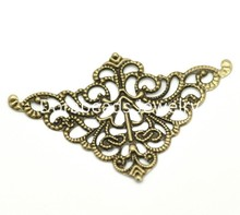 DoreenBeads Antique Bronze Filigree Triangle Wraps Connectors 5cm x 3.2cm(2″x1-1/4″), sold per lot of 100 (B17546), yiwu