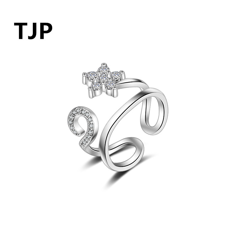 TJP Fashion 925 Sterling Silver Girl Lady Finger Jewelry Charm Clear Crystal CZ Stones 2018 Hot Sale Women Party Accessory