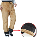Winter Double Layer Men's Classic Cargo Pants Warm Thick Baggy Pants Cotton Trousers For Men fleece Male long Pants