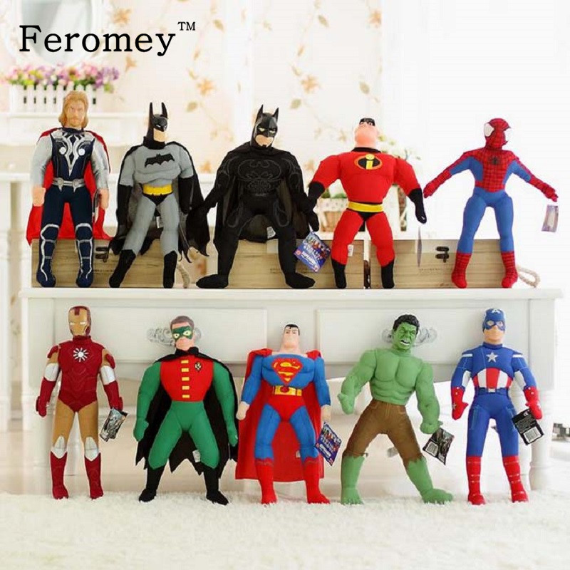 The Avengers Action Figure Toys 40cm <font><b>Spiderman</b></font> Batman Superman Ironman Hulk Captain America Thor Marvel Avengers Figure Toys