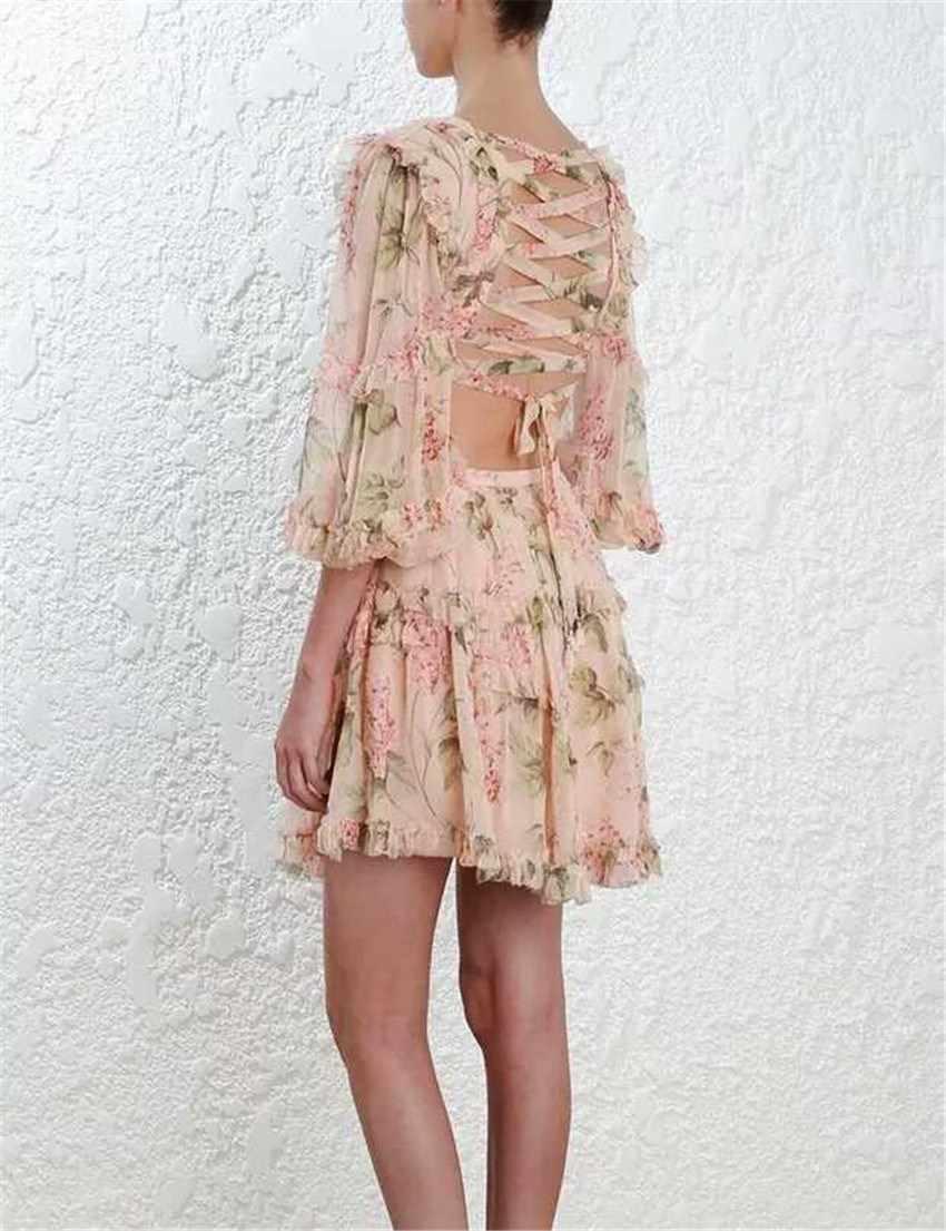 Boho рукав-фонарик с оборками мини платье Sexy Глубокий V средства ухода за кожей шеи цветочный принт повседневное высокая Талия спинки бинты шифоновое