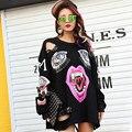 BringBring 2016 Outono Novo Personalizado Demônio Impressão Camisola Mulheres com Pin Hole Solto Sweatershirt Preto com Lábios 1702