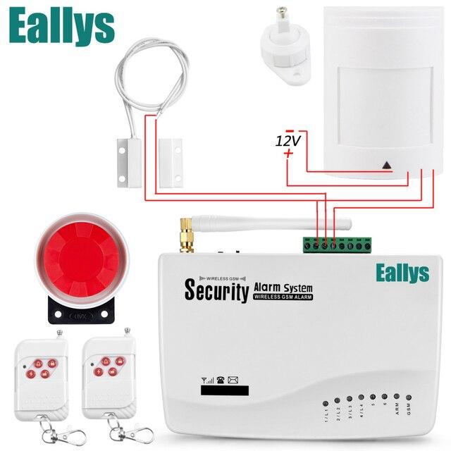 Gratis verzending GSM Alarmsysteem Voor Home security Systeem met Bedrade PIR/Deur sensor Enkele Antenne inbraakalarm