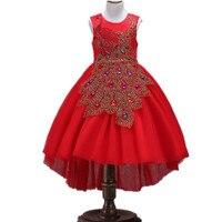 3-10 년 아이 옷 여름 소녀 공주 드레스 우아한 긴 미행 어린이 웨딩 드레스 빨간색 여자 파티 드레