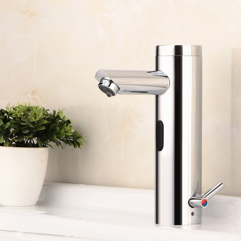 Hygienic Brass Integrated  Automatic Bathroom Faucet Sensor Hot Cold Mixer Tap Touchless Water Saving Faucet Mixer Hands Free