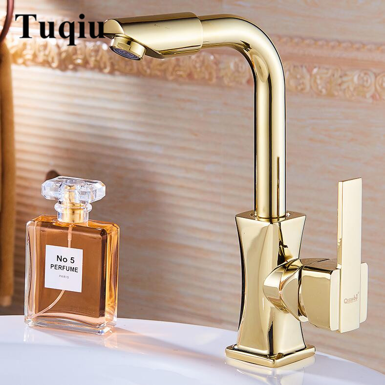 Basin Faucets Gold Rose Gold Chrome Brass Bathroom Faucet Basin Tap Rotate Single Handle Hot and