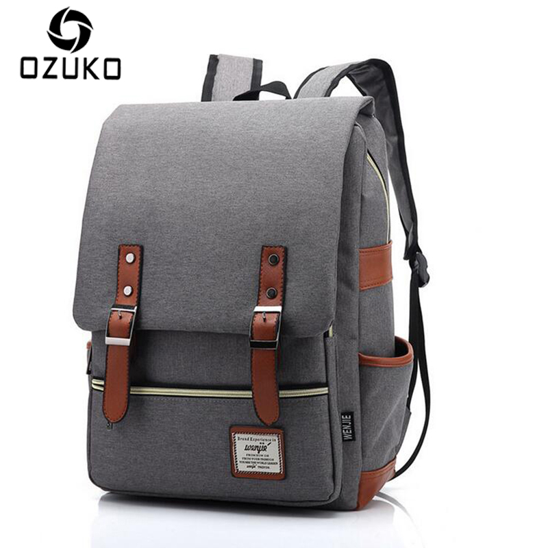 2017 OZUKO Men Canvas Backpack Casual Vintage Rucksack Laptop Large Capacity Computer Bag Student School Bagpacks Travel Mochila hot casual travel men s backpacks cute pet dog printing backpack for men large capacity laptop canvas rucksack mochila escolar