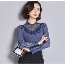 ec1436086c0bc العلامة التجارية مصمم عالية الجودة طويلة الأكمام شبكة قميص المرأة زائد حجم  مكتب سيدة مثير قمصان لينة مريحة الإناث الملابس قمم