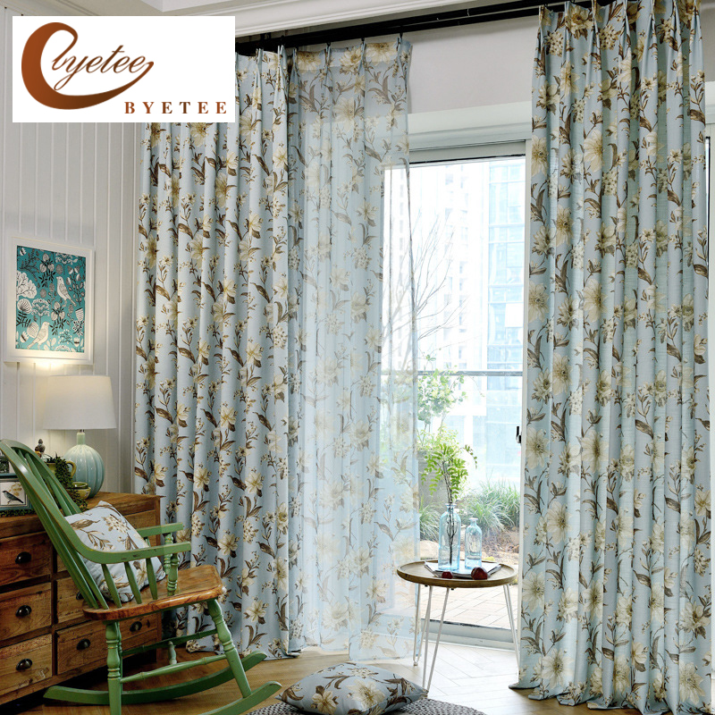 [Byetee] Ready Made Curtains Modern Kitchen Blackout Curtains For Living Room Bedroom Pastoral Curtains Curtain Fabrics Drapes