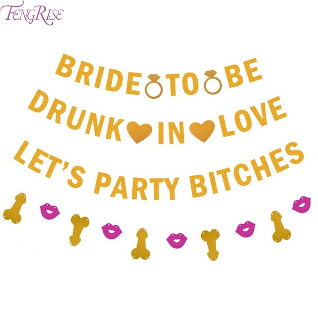 fengrise glitter lets party bitches gold banner bachelorette party bridal shower same penis forever hen party
