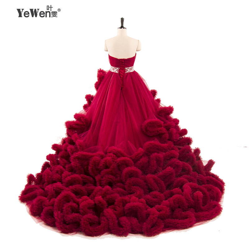Luxury Pregnant Fluffy Long Train Crystal Wedding Gown Burgundy 2017 Plus-size Wedding Dresses cloud Robe De Mariage