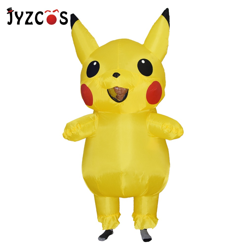 JYZCOS Pikachu Inflatable costume Pokemon Mascot Costume Halloween Party Costume Purim Christmas Cosplay Costume for Adults Kids
