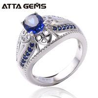 bb1327bd9db7 Blue Sapphire Sterling Silver Rings For Unisex Design Created Sapphire  Rings S925 For Women Men Engagement