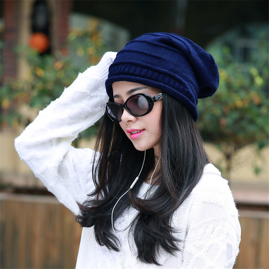 Women's winter hat knitted wool beanies female fashion skullies casual caps thick warm hats for women JX-A-1 skullies beanies the new russian leather thick warm casual fashion female grass hat 93022