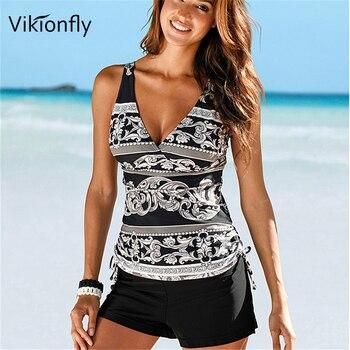 Vikionfly Plus Size Tankini Swimsuit Women 2019 Push Up Vintage Swimwear Bikini Large Size Swimming Suit With Shorts For Ladies