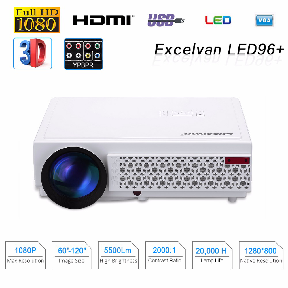 Excelvan LED96 + 5500 Lumens Longue durée de vie LED Full HD LED Accueil cinéma TV