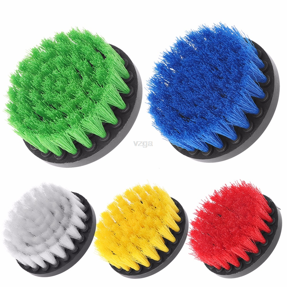 4 Drill Cleaning Brush Heavy Duty With Stiff Bristles For Carpet Car Mats New MAY30 dropship