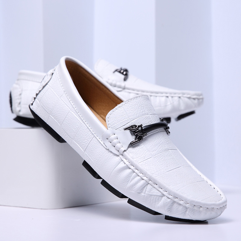 Zapato Hombre Casual Cuero Men Casual Shoes Luxury Brand 2019 Mens Loafers Moccasins Breathable Slip On Shoe Driving Shoes White