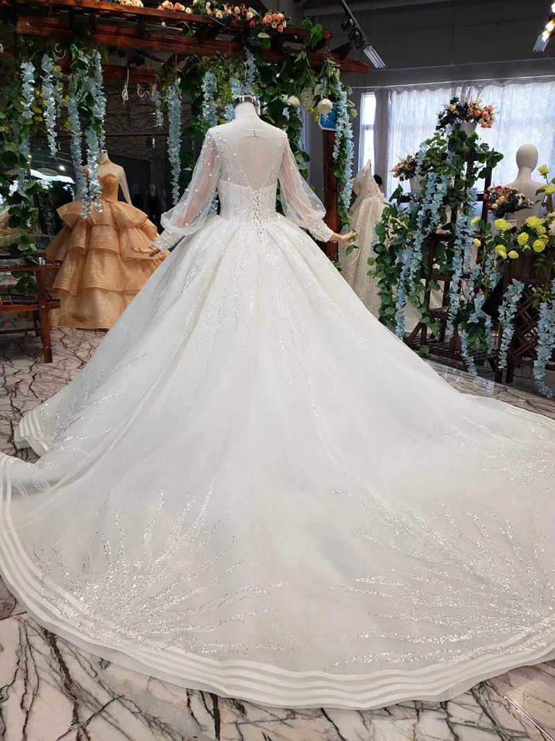 LS11882G modest wedding dresses bridal gowns with train high neck long sleeve bridal dress vestido de noiva princesa com brilho