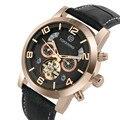 Tourbillon Мужские часы Полный календарь натуральная кожа механические часы Топ бренд FORSINING бизнес человек автоматические часы