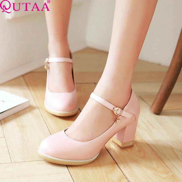 QUTAA Mary Jane Senhoras Verão Quadrados Sapatos de Salto Alto Mulher Bombas Dedo Do Pé Redondo de couro PU Senhoras Tamanho do Sapato de Casamento 34-43