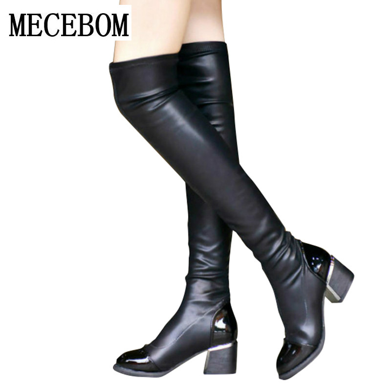 44d6edea641e1 2018 new Fashion PU Leather Over Knee Boots Women Sequined Toe Elastic  Stretch Thick Heel High