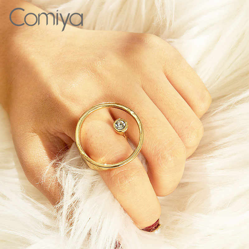 Comiya Gold Color Ring Feminino Bijoux Femme Korean Jewelry Fashion Round Circle Zinc Alloy Accessoreis Crystal Rings For Women