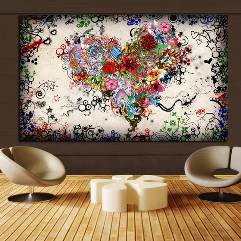 Creative Colorful Abstract Heart Theme Canvas Wall Painting