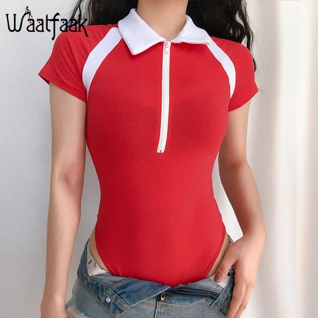 Waatfaak Oficina OL Rojo Negro Bodysuit mujeres cremallera arriba de manga corta verano Bodycon elegante cuerpo torniquete cuello corto mono