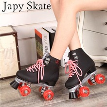 Japy Skate Double Roller Skates With Red Led Lighting Wheels Unisex 4 Wheels Skates Two Line Roller Skate Adult Skate Shoes(China)