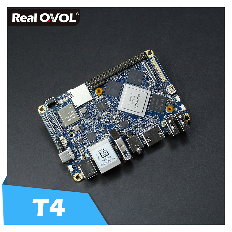 RealQvol NanoPC T4 minimum Rockchip RK3399 Soc 4 GB RAM 16 GB eMMC AI et applications d'apprentissage profond wifi bi-bande M.2 PCIe NVME