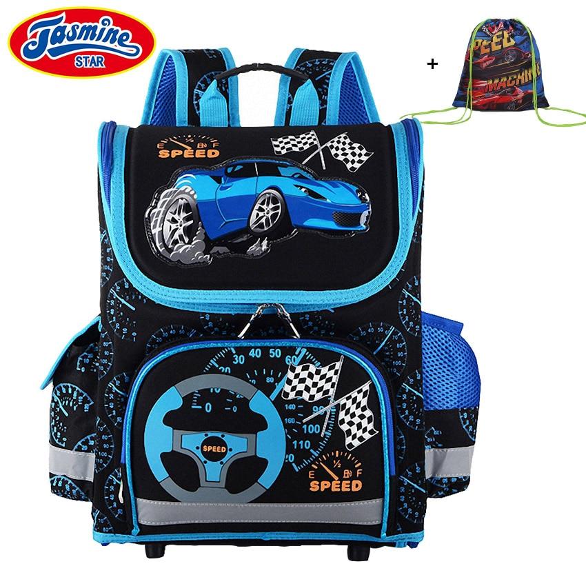 JASMINESTAR Children Schoolbag Grade 1-3-5 Primary Boy Race Car Backpack Student Orthopedic Cartoon School Bags