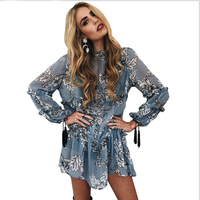Boho Floral Print Tassel Women Dress Autumn Winter Long Sleeve Ruffle Chiffon Dress Vintage Loose Short