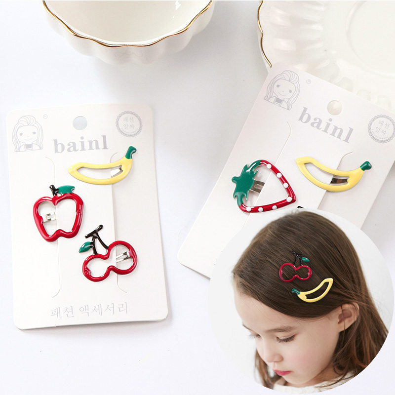 1Pack New High Quality Little Girls Hair Clips Cute Fruit Hairpin Acrylic Metal Barrettes Kid Hair Accessories Children BB Clips 10pcs lot high quality new 6 0cm barrettes safety pack cloth hair clips for women accessories colorful solid girls cute hairpins