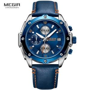 Image 2 - MEGIR Mens Chronograph Quartz Watches Leather Strap Army Sports Casual Wristwatch Man Relogios Masculino Clock 2074 Blue