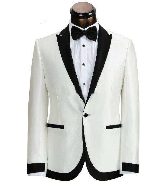 2016 Free Ship White Tuxedo Jacket Black Lapel Groom Tuxedo Men Bright Silk White Ivory Linen