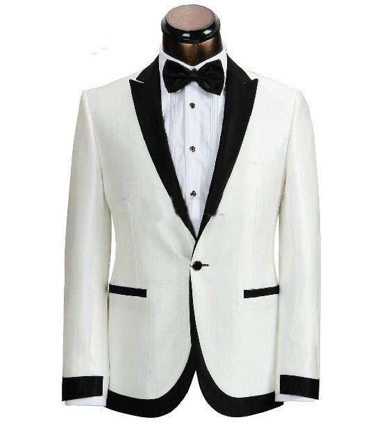 2018 Free ship white tuxedo jacket black lapel Groom Tuxedo Men bright silk white/ivory linen suit /groom wear wedding tuxedos