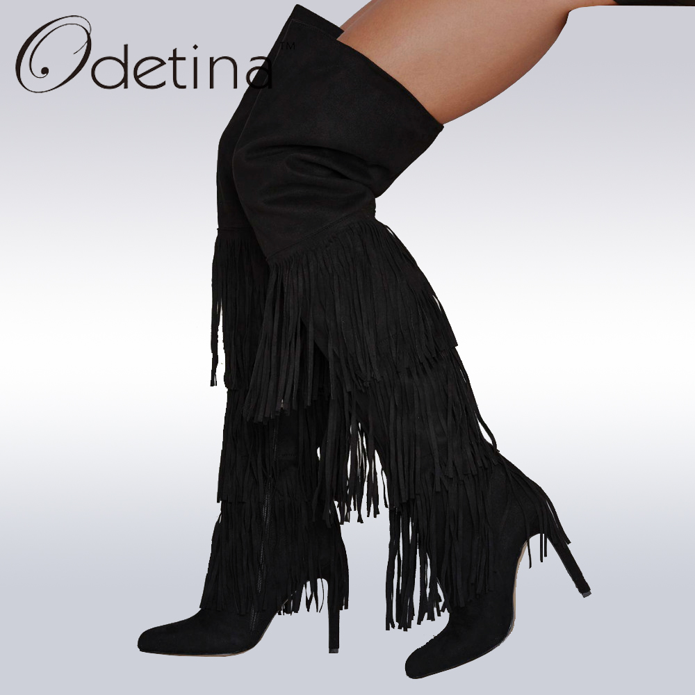 Odetina 2017 Brand Women Over The Knee Boots Tassels Suede Thigh High Boots Fringe Stiletto High Heels Long Boots Sexy Ladies