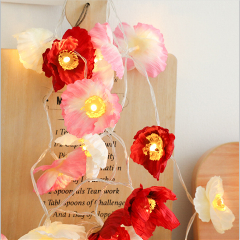 Pink Fairy Garland Indoor Led Silk Flower String Lights Decoration For Christmas Wedding Holiday Birthday Party