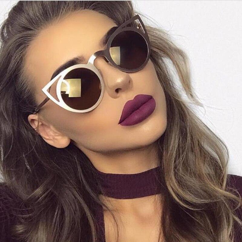 2017 Women Sunglasses Vintage Cat Eye Sun glasses Metal Alloy Eyeglasses Frames Mirror Shades Sexy Sunnies UV400 Fashion
