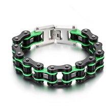 16mm Width Green Black Men Bracelet Biker Cool Stainless Steel Male Wristband Friendship Gift Jewelry