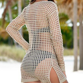 2019 Summer Casual Fishnet Crochet Beach Dress Women Hollow Out Beach Cover Up Bikini Swimwear Beach Wear Pareo Saida De Praia 2