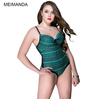 2018 New Plus Size Women Swimsuit One Piece Suit Print Striped Bathing Suit 2XL 5XL Girl