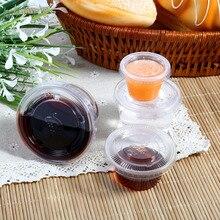 50 шт., для пищевых продуктов PP соус одноразовые стаканчики dips соус Chutney чашки коробки с крышками для еды контейнер