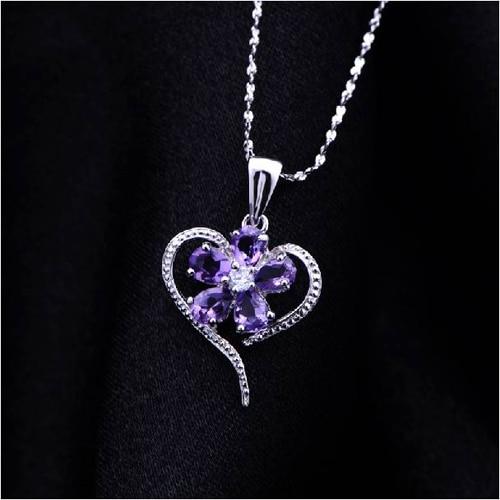 Колье ожерелье QI Xuan_Purple камень кулон сердце Necklaces_Real Necklace_Quality Guaranteed_Manufacturer непосредственно продаж