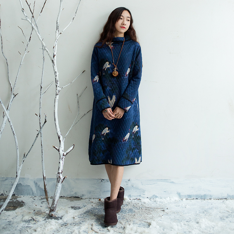 Women national Style Winter Bottoming Cotton Dress Ladies Bird Print Thick Robes Retro Turtleneck Print Chinese