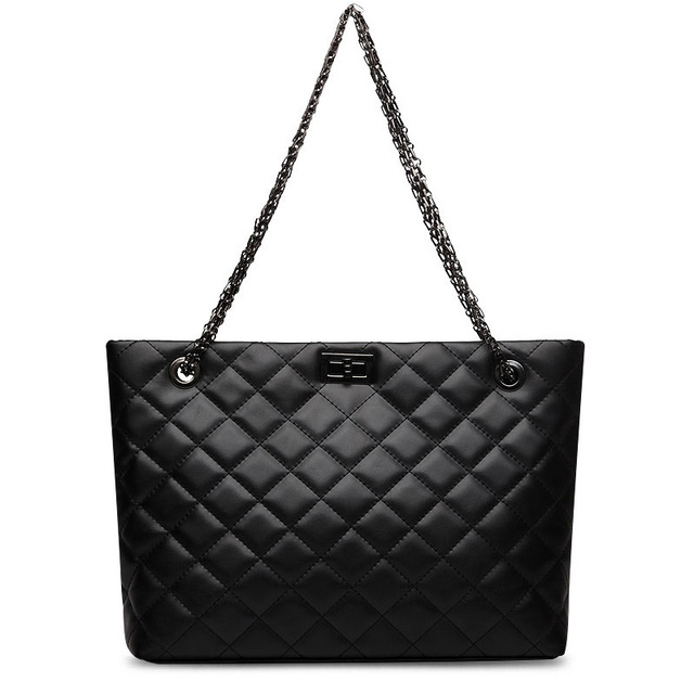 Genuine Leather Cowhide Chain Handbags Shoulder Bags Quilted Metal Strap  Tote Handbag Bags for Women with Micom Zip Pouch Black 47117ea4b9626