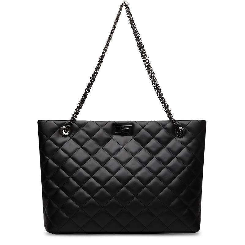 Genuine Leather Cowhide Chain Handbags Shoulder Bags Quilted Metal Strap Tote Handbag Bags for Women with Micom Zip Pouch Black